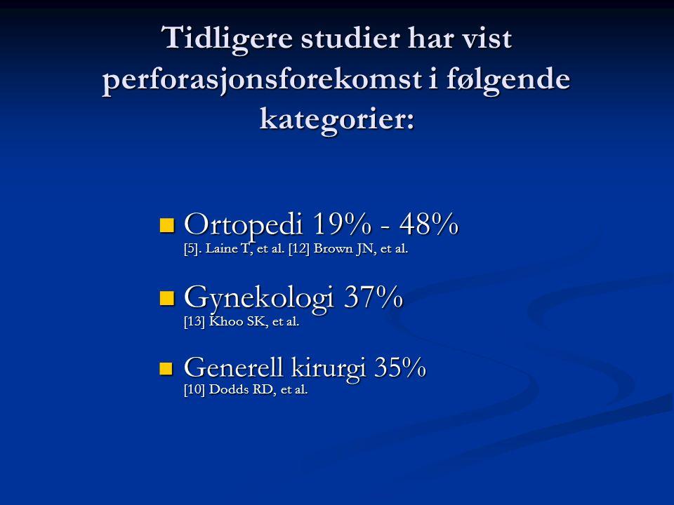 Ortopedi 19% - 48% [5]. Laine T, et al. [12] Brown JN, et al.